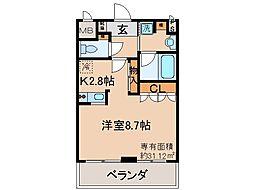 京都地下鉄東西線 山科駅 徒歩9分の賃貸マンション 2階1Kの間取り