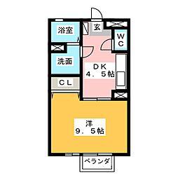 セジュール當水 A棟[1階]の間取り