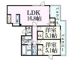 ルミエール芦屋 3階2LDKの間取り