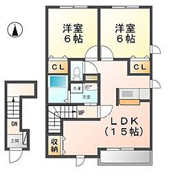 愛知県清須市阿原八幡丁目の賃貸アパートの間取り