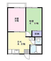 スカイハイツB棟[2階]の間取り