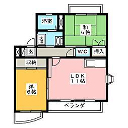愛知県岡崎市大樹寺3丁目の賃貸マンションの間取り