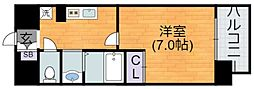 Osaka Metro谷町線 平野駅 徒歩2分の賃貸マンション 8階1Kの間取り