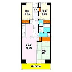 プロスペール谷塚 弐番館[8階]の間取り