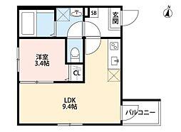 JR埼京線 与野本町駅 徒歩12分の賃貸アパート 2階1LDKの間取り