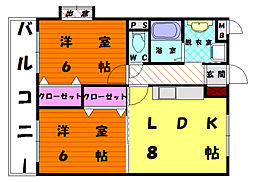 福岡県福岡市東区和白3丁目の賃貸マンションの間取り