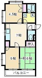 セジュール・ド・ミワ 弐番館[206号室]の間取り