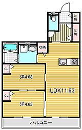 大阪府高槻市如是町の賃貸アパートの間取り