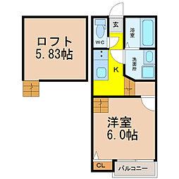 愛知県名古屋市中川区高畑4丁目の賃貸アパートの間取り