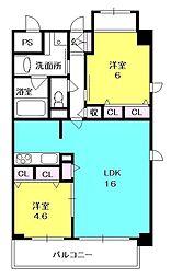クラヴィーアさくら夙川[4階]の間取り