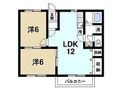 奈良県天理市前栽町の賃貸アパートの間取り