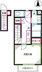 JR中央本線 国分寺駅 徒歩9分の賃貸アパート 2階1Kの間取り