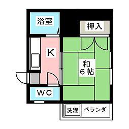 メゾンドヤマザキ 2階1Kの間取り
