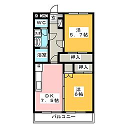 ラプラース萩尾Ⅱ[2階]の間取り