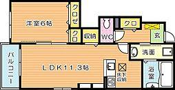 福岡県北九州市若松区片山3丁目の賃貸アパートの間取り
