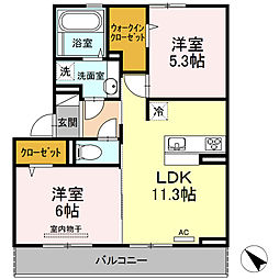 広島県広島市安佐北区可部3丁目の賃貸アパートの間取り