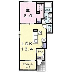 JR宇野線 備前西市駅 徒歩17分の賃貸アパート 1階1LDKの間取り