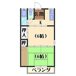 六斎ハイツ[3D号室]の間取り