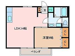 三重県松阪市上川町の賃貸アパートの間取り