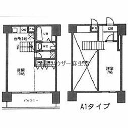 AMS352ビル 6階1LDKの間取り