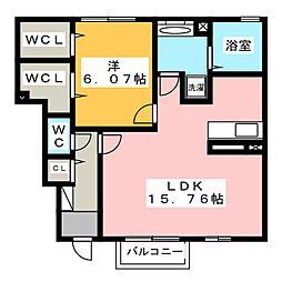 三重県名張市下比奈知の賃貸アパートの間取り