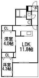 北海道札幌市中央区宮の森二条6丁目の賃貸マンションの間取り