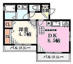 東京都三鷹市上連雀1丁目の賃貸アパートの間取り