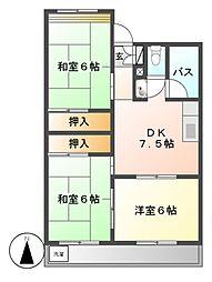 愛知県名古屋市中川区中郷5丁目の賃貸マンションの間取り