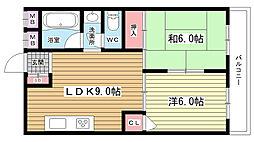 大阪府吹田市千里山竹園1丁目の賃貸マンションの間取り