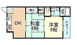 泉ハイツ 3階2DKの間取り