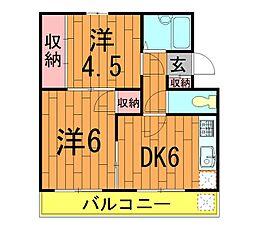 ガーデンフィール東台[206号室]の間取り