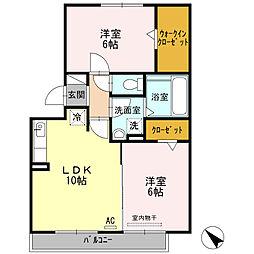 愛知県岡崎市中村町の賃貸アパートの間取り