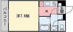 ラ・ヴェリテ水天宮 2階1Kの間取り