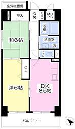 Osaka Metro御堂筋線 なかもず駅 徒歩4分の賃貸マンション 7階2DKの間取り