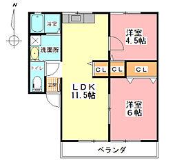 コーポひまわりB[2階]の間取り