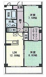 茨城県つくば市東新井の賃貸マンションの間取り