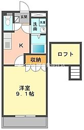 K - フラット[2階]の間取り