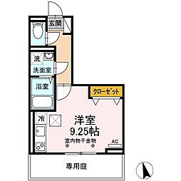 JR久大本線 久留米大学前駅 徒歩5分の賃貸アパート 1階ワンルームの間取り