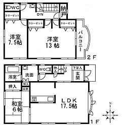 [一戸建] 大阪府高槻市川西町1丁目 の賃貸【/】の間取り
