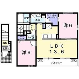 愛媛県松山市姫原3丁目の賃貸アパートの間取り