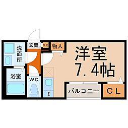 (仮称)中村区高須賀町(2)新築アパート 1階ワンルームの間取り
