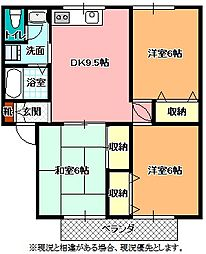 長野県飯田市松尾清水の賃貸アパートの間取り