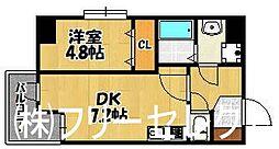 福岡県福岡市博多区博多駅東1の賃貸マンションの間取り