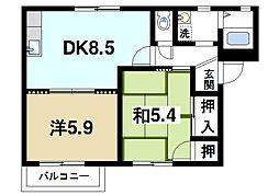 マノワール四条B[2階]の間取り