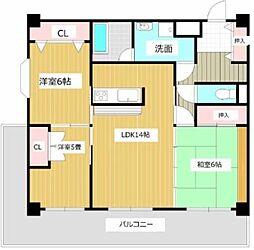 ロイヤルマンション南久留米[5階]の間取り