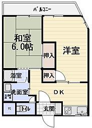 大阪府守口市大宮通3丁目の賃貸マンションの間取り