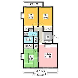 愛知県岡崎市薮田2丁目の賃貸マンションの間取り