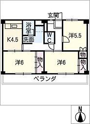 ビレッジハウス三好 2号棟[2階]の間取り