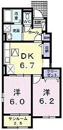 岡山県倉敷市真備町箭田の賃貸アパートの間取り