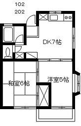 コーポ成城台 2階2DKの間取り